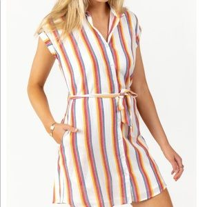 Harper Heritage Rainbow stripe shirt dress